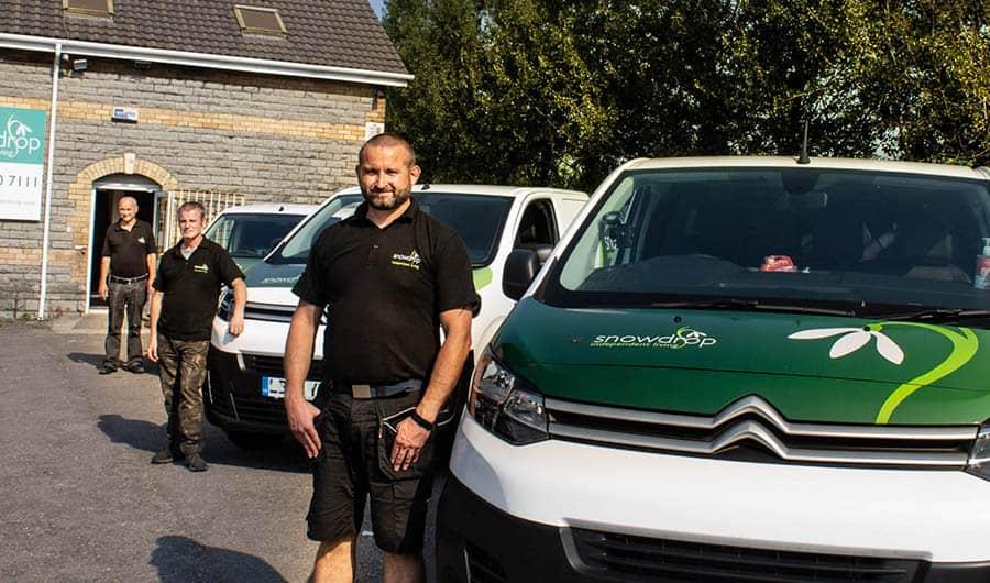 Snowdrop Independent Living van and people in West Midlands