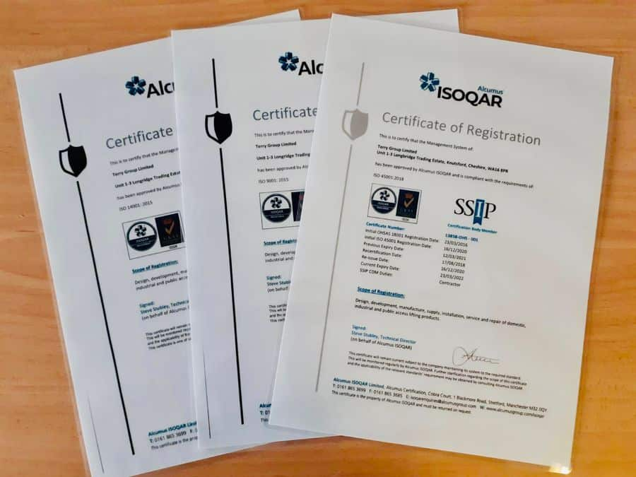 Terry Lifts ISO certificates