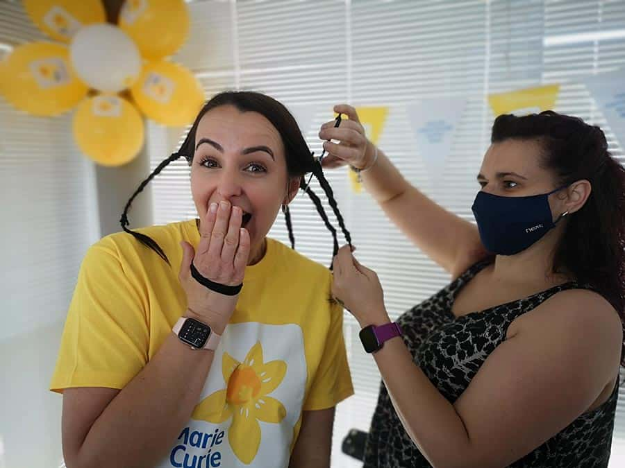 Acorn Stairlifts National Sales Manager cuts off hair for Marie Curie image