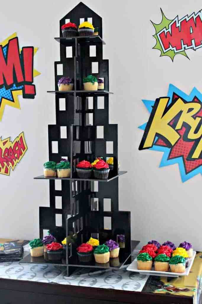 Cupcake Tower for Superhero Party