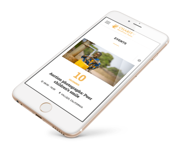 Events for charity WordPress Site