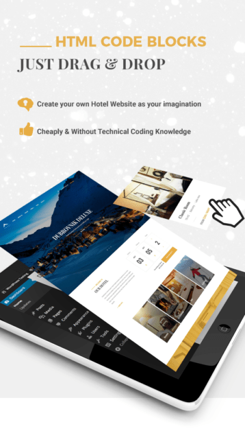 Hotel WordPress theme - Drag and drop sidebuilders