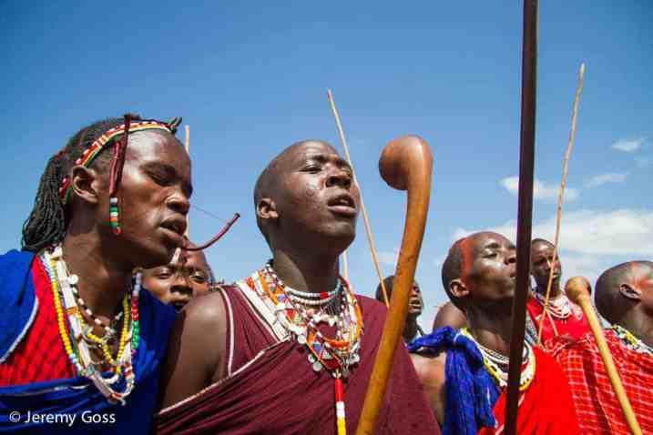 Maasai warriors chant before the start of the Maasai Olympics