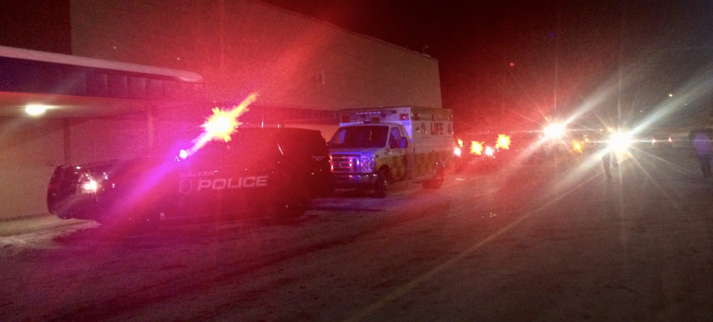 first responder vehicles responding to a nighttime situation