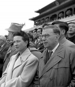 Jean-Paul Sartre with his longtime, open-relationship partner Simone de Beauvoir in 1955. Wikimedia Commons: Public Domain.