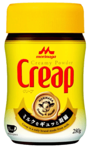 """A jar of Creap (""""creamy powder""""), a coffee creamer product from Japan."""