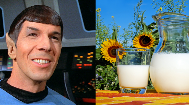 Spock smiles at a pitcher and glass of milk