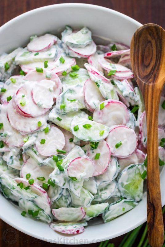 Creamy Paleo Cucumber Radish Salad