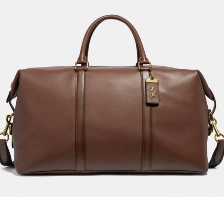 Men's leather weekender bag coach