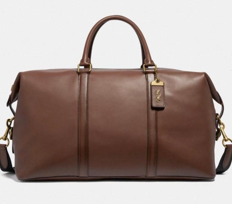 Men's leather weekender bag coach
