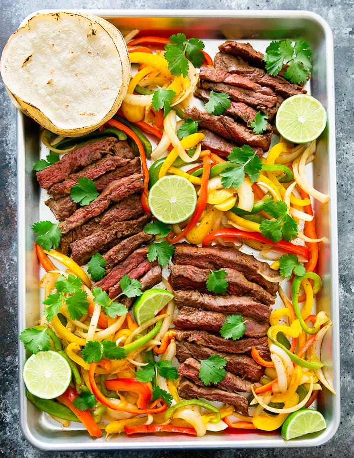 Steak fajita sheet pan dinner