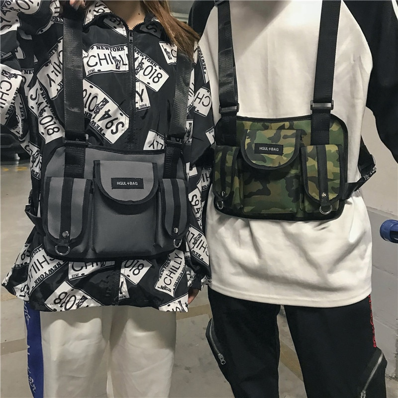 32c5ae03f86d9 Fashion Chest Rig Waist Bag Hip Hop Streetwear Functional Tactical Chest  Bag Cross Shoulder Bags Bolso Kanye West