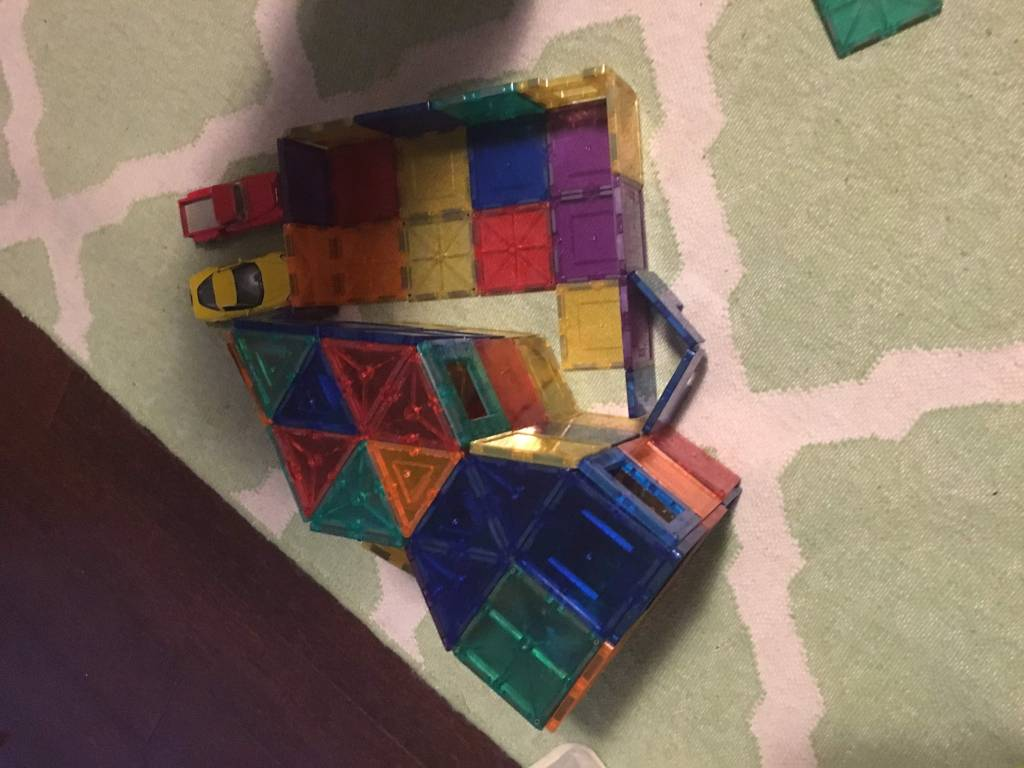 fun and easy toddler play with picasso magnetic tiles when mom is sick