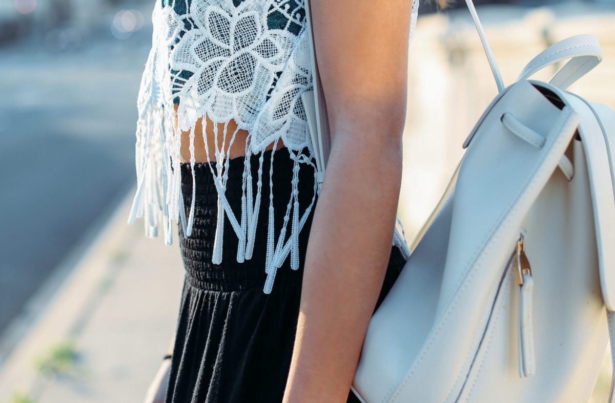 What to Wear: Lace Tops and Black Maxi Skirt
