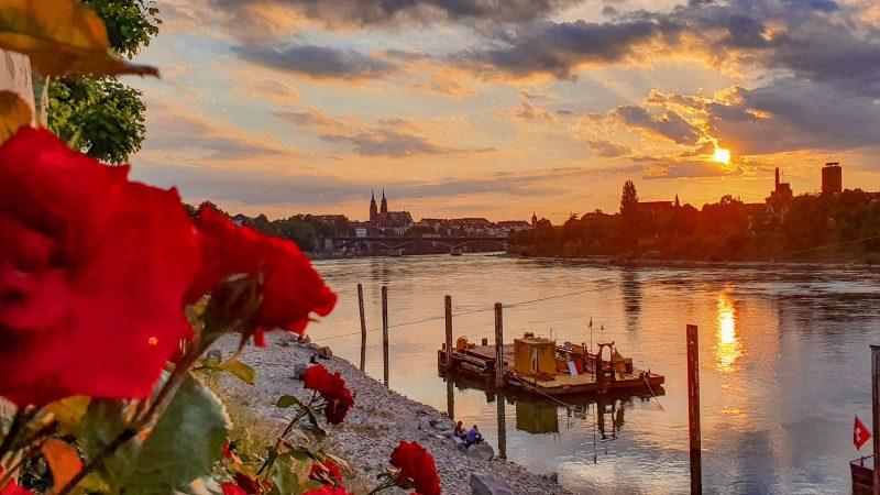 The Rhine at sunset, Basel