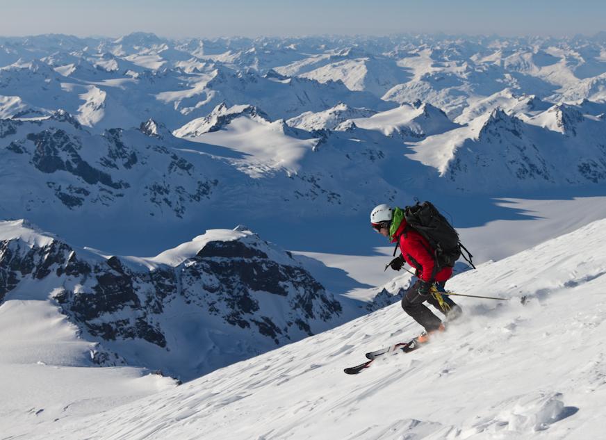 Andy skiing down Iliamna