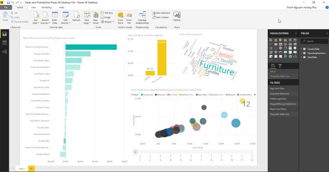 Mới nhìn vô PowerBI là thấy mê rồi. Màu sắc, bảng biểu rồi chart này nọ làm chuyên nghiệp quá. Nên giờ cũng tập tẹ nghiên cứu dần là vừa 😊