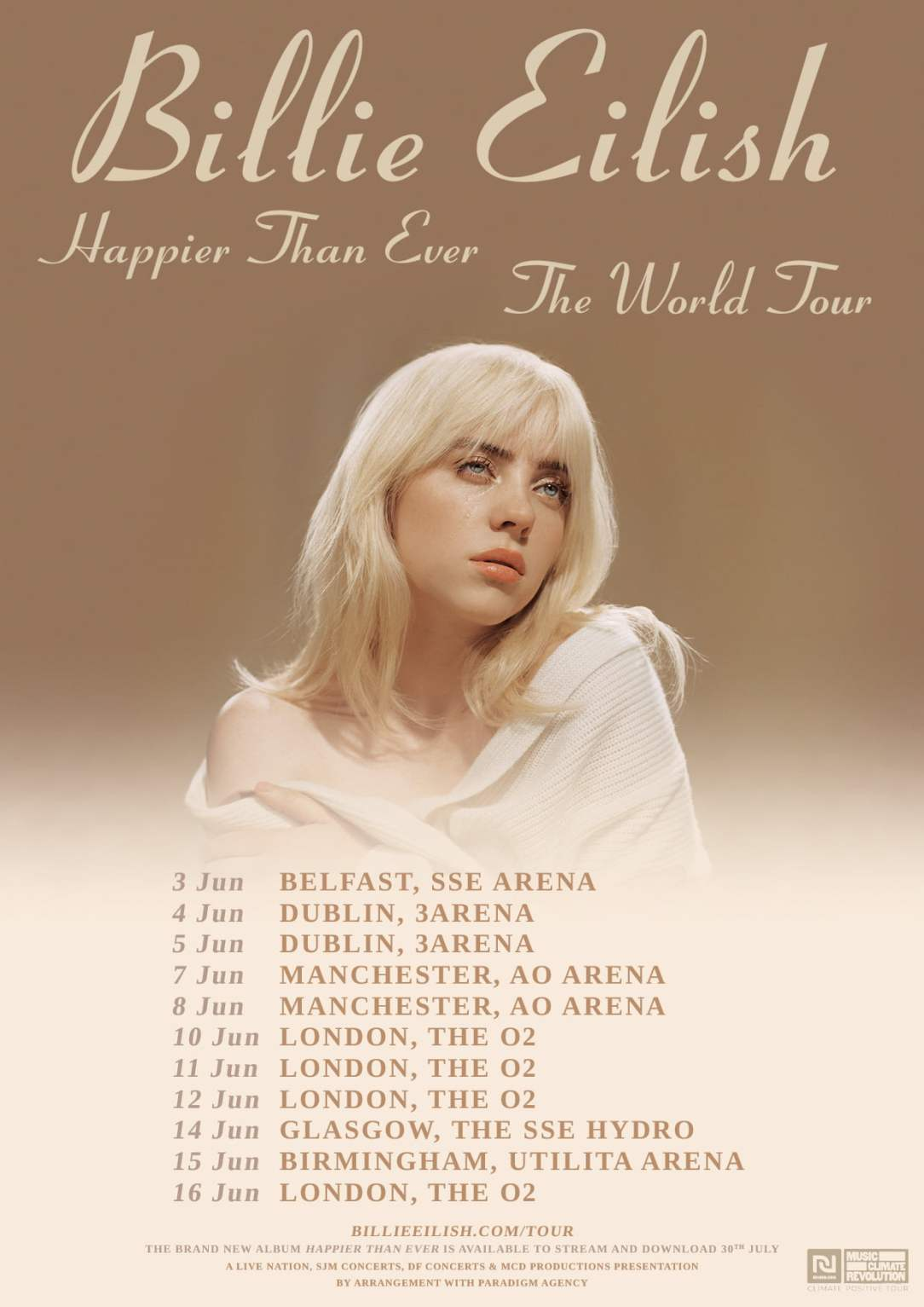 Billie Eilish 2022 World Tour Dates