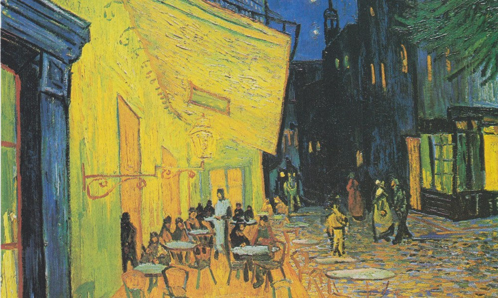cafe terrace on the place du forum arles at night van gogh