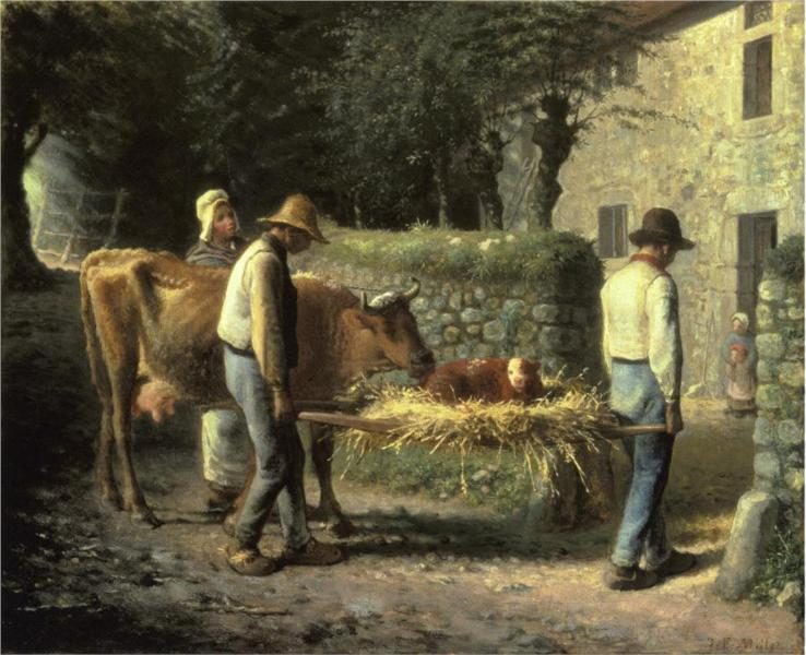 Peasants Bringing Home a Calf Born in the Fields – Jean-Francois Millet (1864)