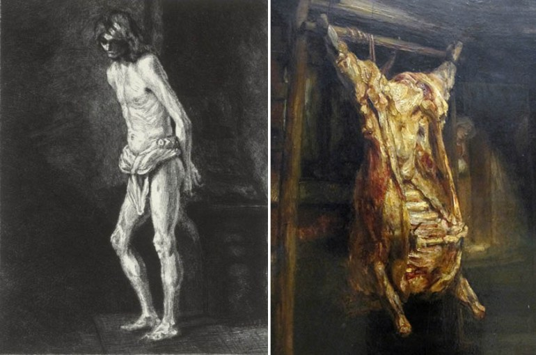Christ at the Column – Eugene Gaujean; Slaughtered Ox – Rembrandt