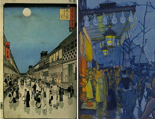 Night View of Saruwakacho Theatre Street – Utagawa Hiroshige; Avenue de Clichy – Louis Anquetin