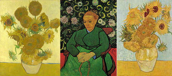 Van Gogh Sunflowers London Version,Berceuse Otterlo version, Sunflowers Munich version