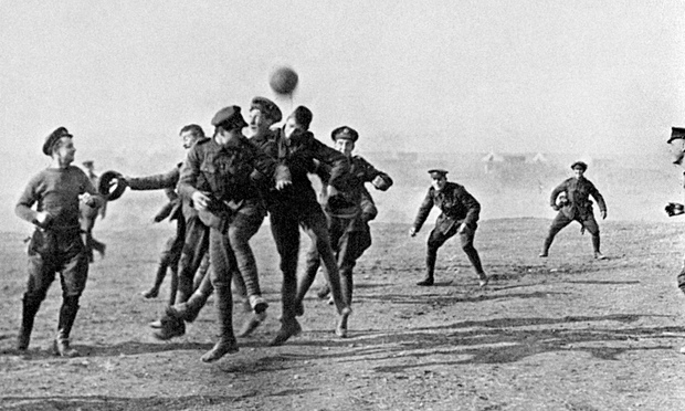 First world war soldiers playing football