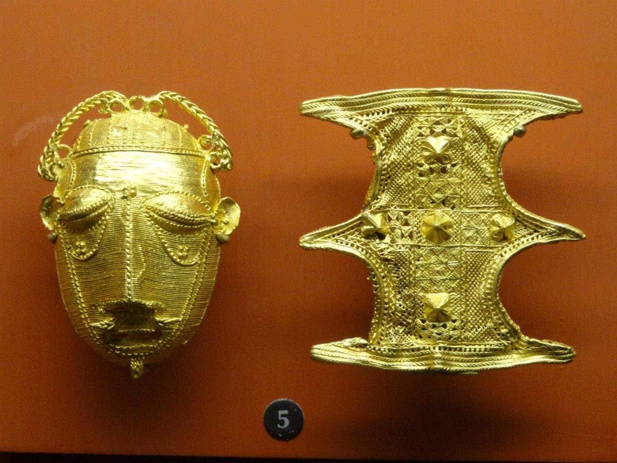 Ashanti Gold_ornaments_(mask_and_shield),_American_Museum_of_Natural_History