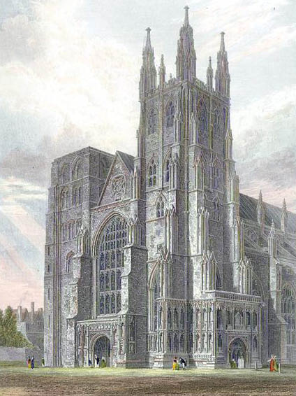 Samuel Ajayi Crowther - Canterbury Cathedral - view of the Western Towers engraved by J.LeKeux after a picture by G.Cattermole, 1821 edited