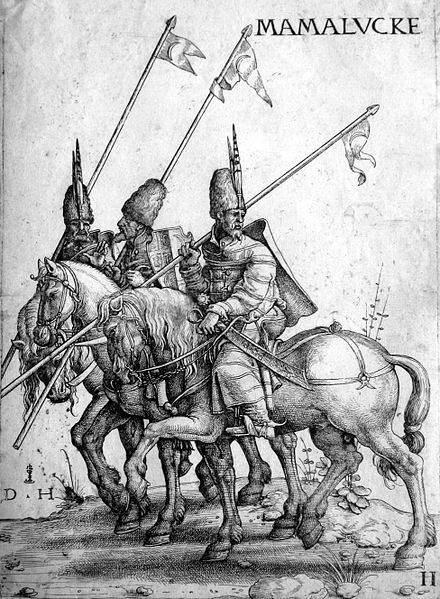 mamluk - An illustration of three Mamluk lancers on horseback