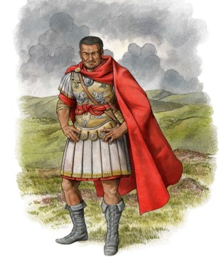 A soldier wearing Roman military uniform consisting of armour and a long red cape.