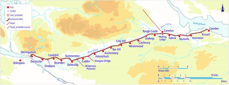 A map showing the Antonine Wall stretching from the Clyde to the Firth.