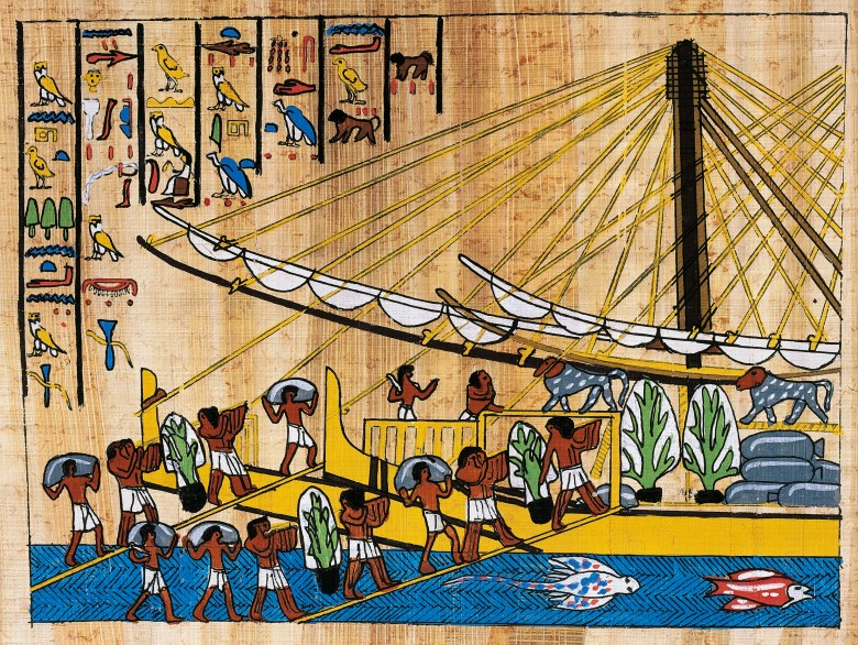 Papyrus depicting Voyage of Hatshepsut to Punt, reconstruction of relief at Dayr al-Bahri temple
