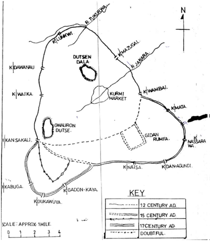 hausa Kano City Walls and Gates Old map