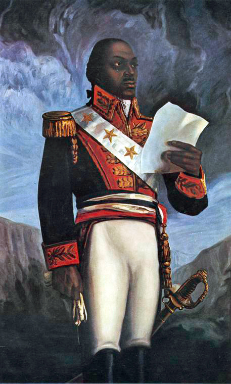 A painting of Louverture in a military uniform holding a document