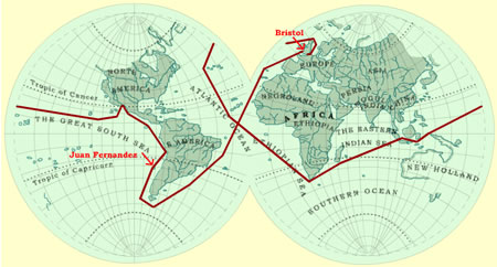 18th Century world map showing the route of the completed voyage circumnavigating the globe