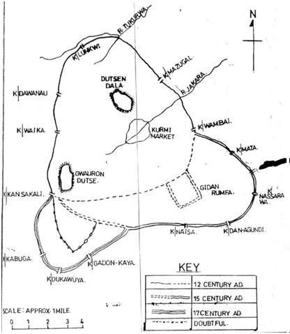 Nigerians hausa Kano City Walls and Gates Old map