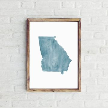 Georgia Watercolor Print. State Illustration. Georgia Art. image 0