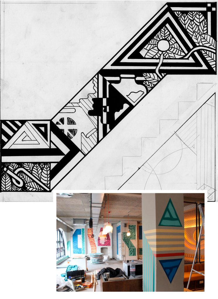 Mural is progress and sketch for Wahaca Kentish Town. Artist: Goodchild