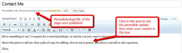 Updating the WordPress Page Slug