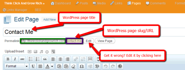 WordPress Page Title URL Slug