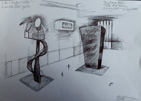 Drawing by Holly Allen, Turbine Hall on thinkingardens.