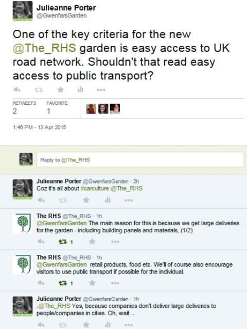 Julianne Porter RHS car twitter convo for thinkingardens