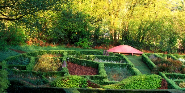Veddw House Garden, Monmouthshire, Wales, UK. Grasses Parterre Copyright Charles Hawes