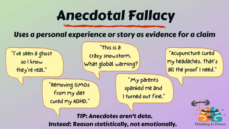 Anecdotal fallacy uses a personal experience or story as evidence for a claim. Examples are I've seen a ghost so I know they're real, removing GMOs from my diet cured my ADHD, this is a crazy snowstorm what global warming, my parents spanked me and I turned out fine, and acupuncture cured my headaches that's all the proof I need.