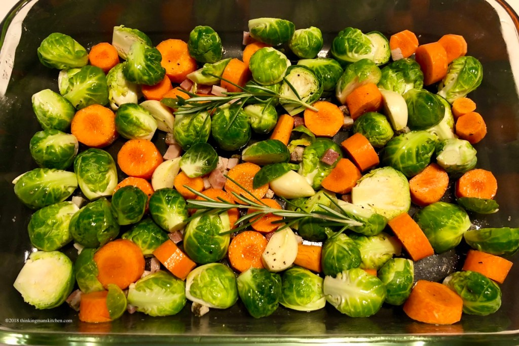 Brussels sprouts and carrots ready for the oven