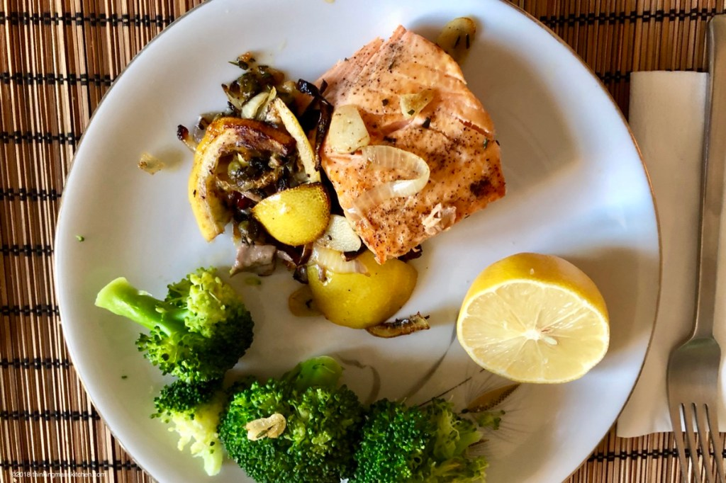 Pan-fried Salmon with Onions, Garlic, Capers, Rosemary and Lemon