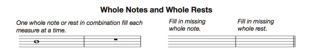 whole notes and rests
