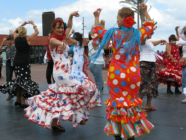 A group of sevillana dancers (photo by Rafael Gomez)